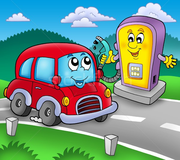 Cute auto tankstation kleur illustratie handen Stockfoto © clairev