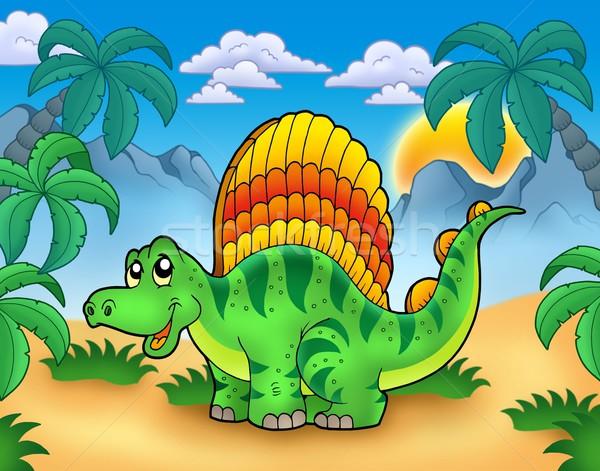 Small dinosaur in landscape Stock photo © clairev