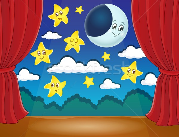 Stage with happy stars and moon Stock photo © clairev