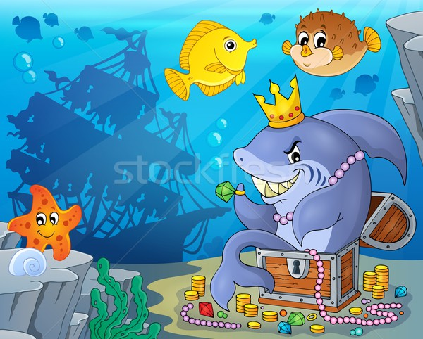Shark with treasure theme image 3 Stock photo © clairev