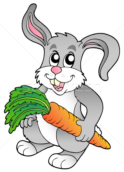 Cute bunny holding carrot Stock photo © clairev