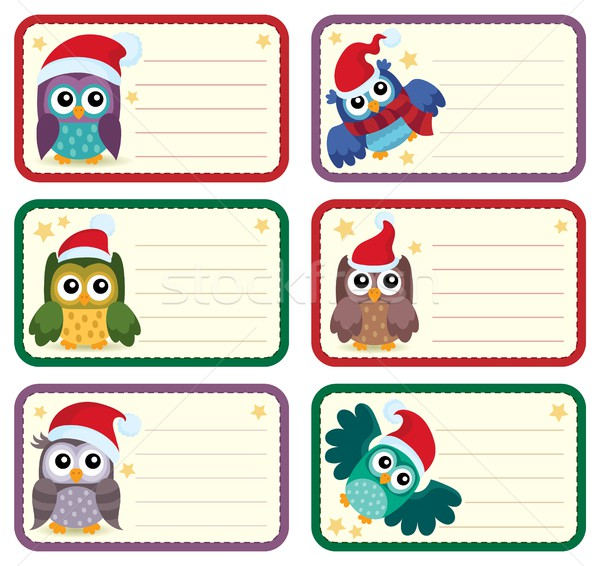 Christmas tags with owls theme 1 Stock photo © clairev