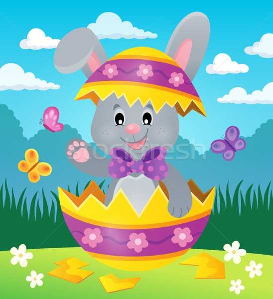Easter bunny in eggshell theme image 2 Stock photo © clairev
