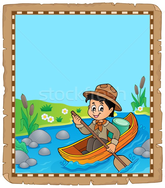 Parchment with water scout boy Stock photo © clairev