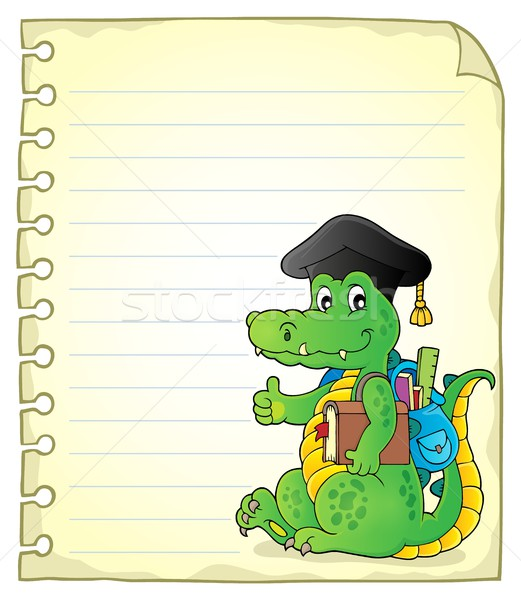 Notepad page école crocodile papier heureux Photo stock © clairev