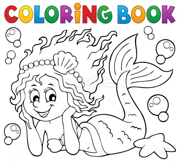 Boyama kitabı mutlu deniz kızı kız kitap deniz Stok fotoğraf © clairev