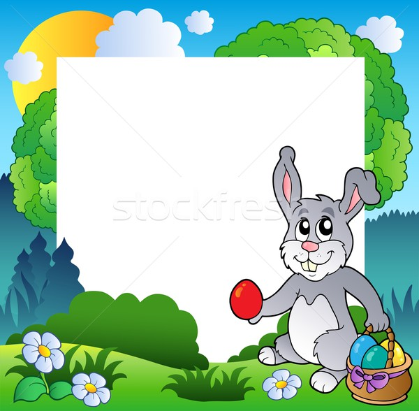 Easter frame with bunny and eggs Stock photo © clairev