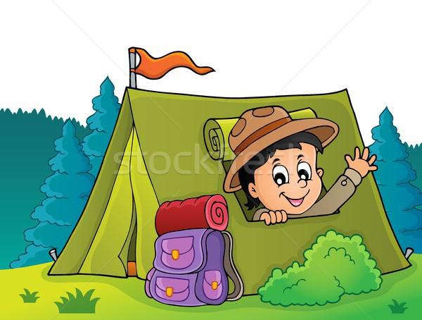 Escoteiro tenda imagem feliz menino saco Foto stock © clairev