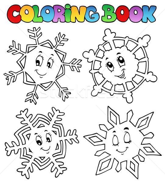 Boyama Kitabı Karikatür Kar Taneleri Kitap Boya Kar