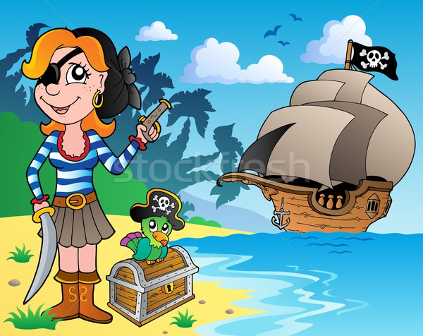 Pirate girl on coast 1 Stock photo © clairev