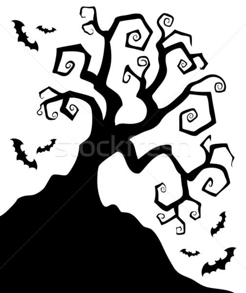 Spooky silhouette of Halloween tree Stock photo © clairev