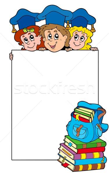Stock photo: Blank frame with graduating kids