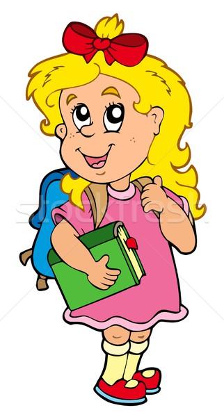 Iskolás lány zöld könyv lány gyerekek iskola Stock fotó © clairev