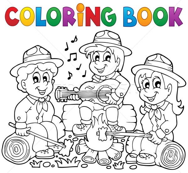 Coloring book scouts theme 1 Stock photo © clairev
