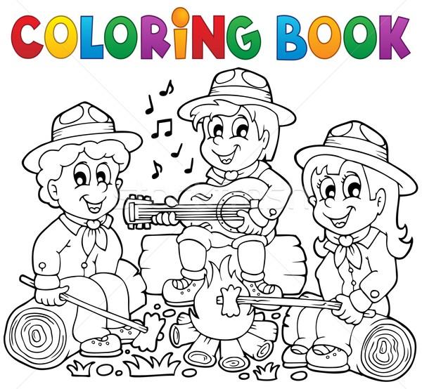 Kleurboek meisje voedsel kinderen brand boek Stockfoto © clairev