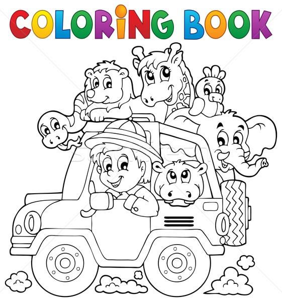 Coloring book car traveller theme 2 Stock photo © clairev