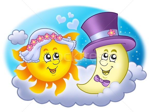 Mariage image soleil lune couleur illustration Photo stock © clairev