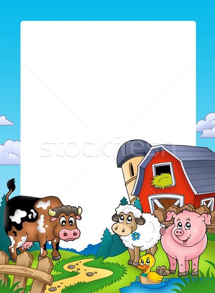 кадр сарай сельскохозяйственных животных цвета иллюстрация дома Сток-фото © clairev