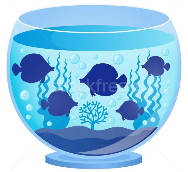 Aquarium with fish silhouettes 1 Stock photo © clairev