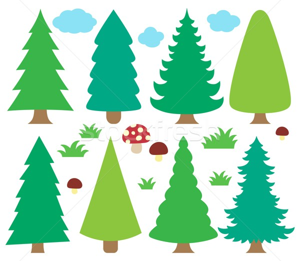 Stylized coniferous trees collection 1 Stock photo © clairev