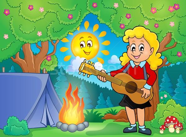 Lány gitáros táborhely mosoly gitár gyermek Stock fotó © clairev