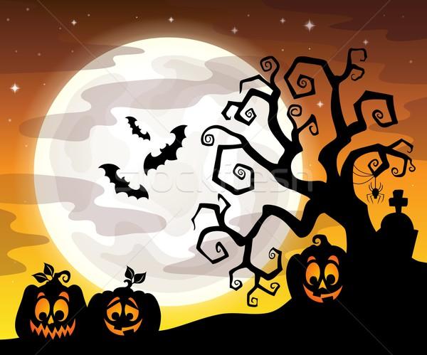 Stock fotó: Halloween · fa · sziluett · arc · fény · hold