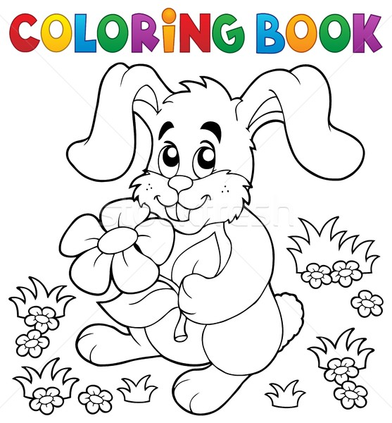 Coloring book Easter rabbit theme 3 Stock photo © clairev