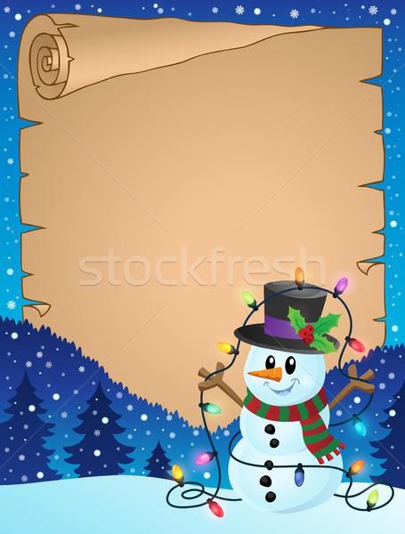 Pergamen karácsony hóember papír fény tél Stock fotó © clairev