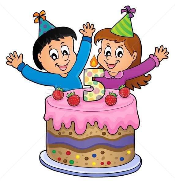 Boldog születésnapot kép 5 éves gyerekek gyermek torta Stock fotó © clairev