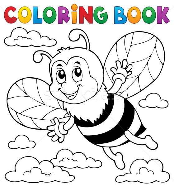 Carte De Colorat Fericit Albină Nori Carte