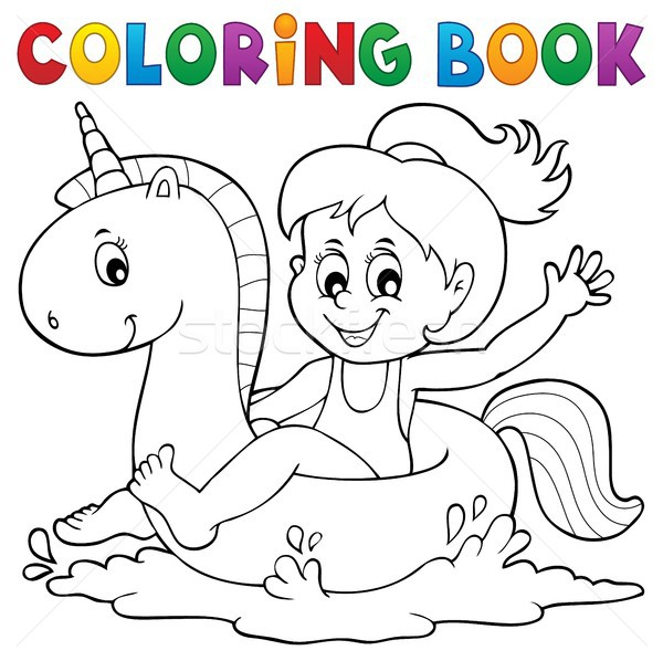 Coloring book girl floating on unicorn 1 Stock photo © clairev