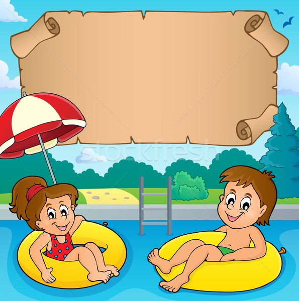 Small parchment and kids in pool Stock photo © clairev