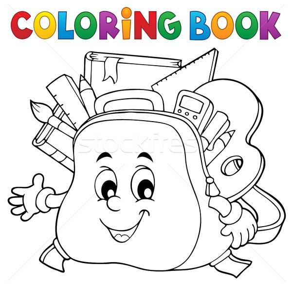 Coloring book happy schoolbag topic 1 Stock photo © clairev