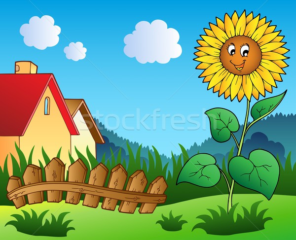 Stockfoto: Weide · cartoon · zonnebloem · bloem · glimlach · tuin
