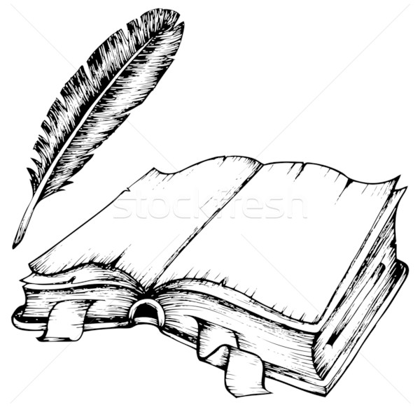 Drawing of opened book with feather Stock photo © clairev