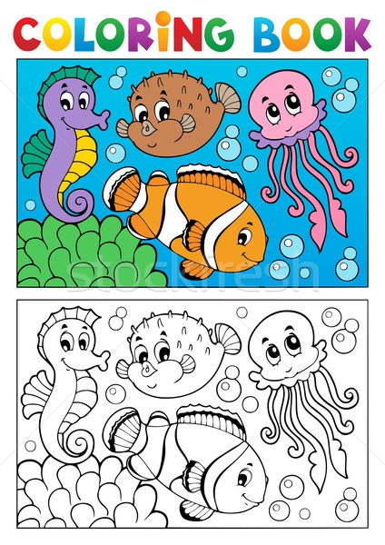 Coloring book with marine animals 4 Stock photo © clairev