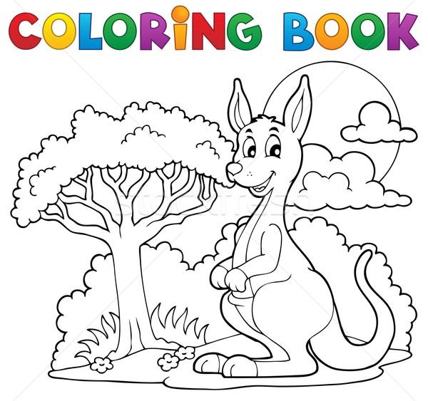 Kifestőkönyv boldog kenguru mosoly könyv terv Stock fotó © clairev