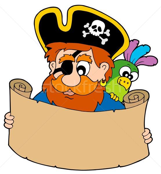 пиратских чтение Карта сокровищ Hat цветами человек Сток-фото © clairev