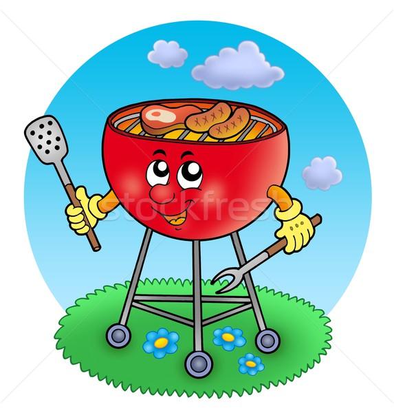Cartoon barbeque in garden Stock photo © clairev