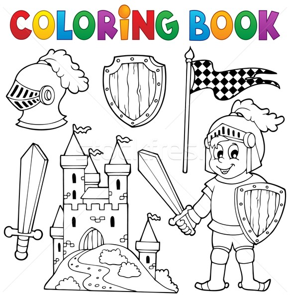 Coloring book knight theme 1 Stock photo © clairev