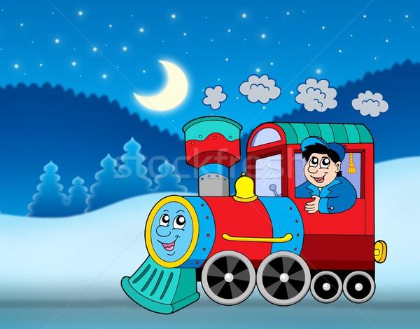 Locomotief winter landschap kleur illustratie hemel Stockfoto © clairev