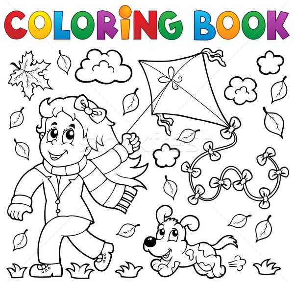 Boyama Kitabı Kız Uçurtma Köpek Kitap çocuk Vektör