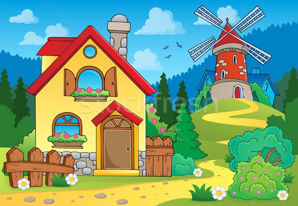Spring theme house and windmill Stock photo © clairev