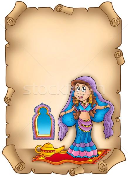 Pergamino vientre bailarín color ilustración mujer Foto stock © clairev