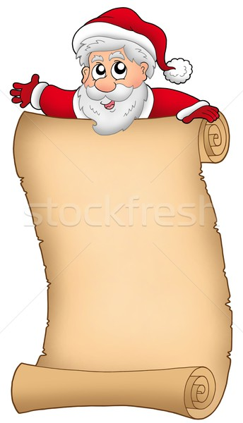 Parchment with happy Santa Claus Stock photo © clairev