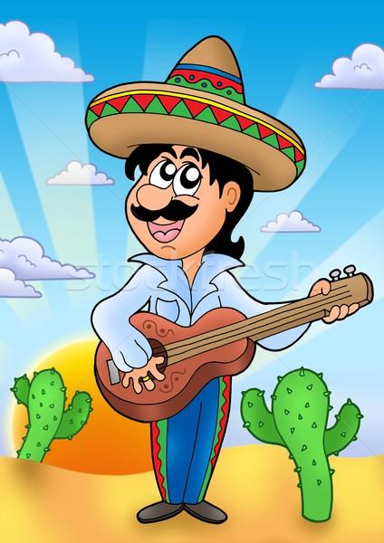 Mexicano músico pôr do sol cor ilustração música Foto stock © clairev
