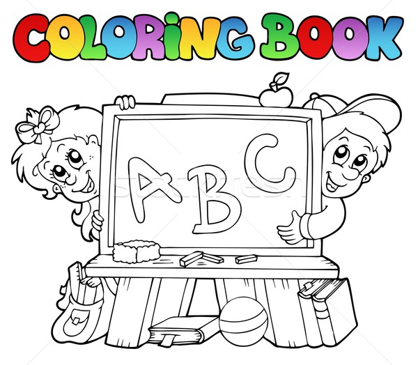 Coloring book with school images 2 Stock photo © clairev