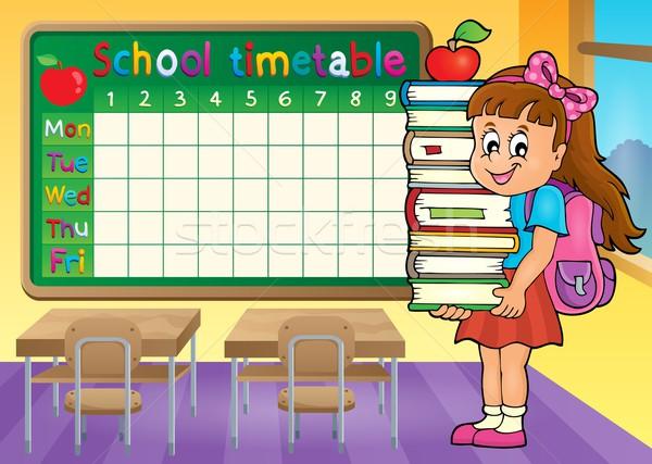 Escolas horário menina livros estudante Foto stock © clairev