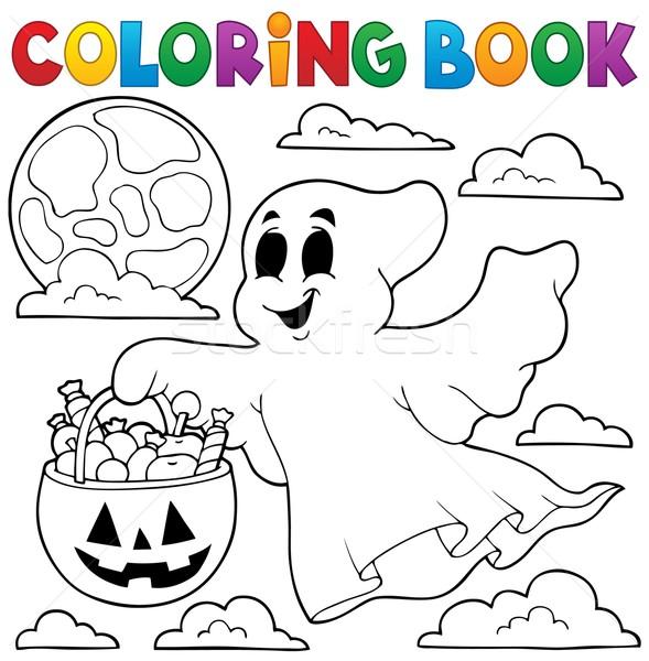 Livro para colorir fantasma livro pintar lua arte Foto stock © clairev
