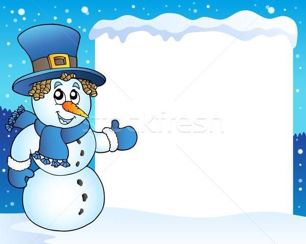 Ramki snowman temat uśmiech sztuki zimą Zdjęcia stock © clairev